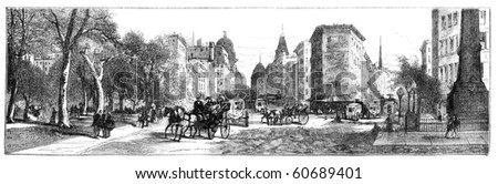 "Madison Square, New York. Illustration originally published in Hesse-Wartegg's ""Nord Amerika"", swedish edition published in 1880. The image is currently in public domain by the virtue of age. - stock photo"
