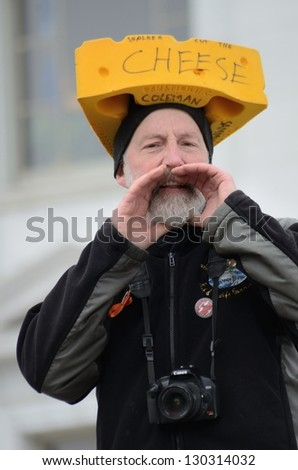 MADISON, WI - MAR 3: Protester in Wisconsin during a rally against Governor Scott Walker's budget bill on Mar 3, 2011. Walker has won the recall election, but he still faces a new election next year - stock photo