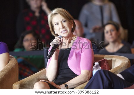 MADISON, WI/USA - March 30, 2016: Former Republican presidential candidate Carly Fiorina speaks to a group of supporters during a rally for presidential candidate Ted Cruz in Madison, Wisconsin.