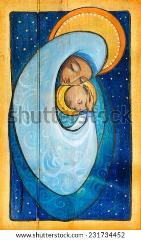 Madonna and infant Jesus painted on a wood.  - stock photo