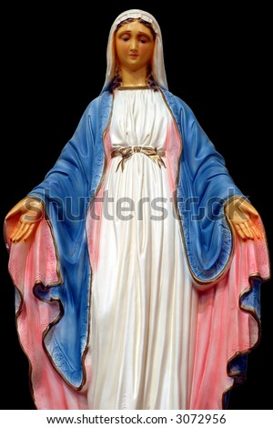 "Madonna - Close-up of ""Our Lady of the Miraculous Medal"" with open arms on black background. - stock photo"