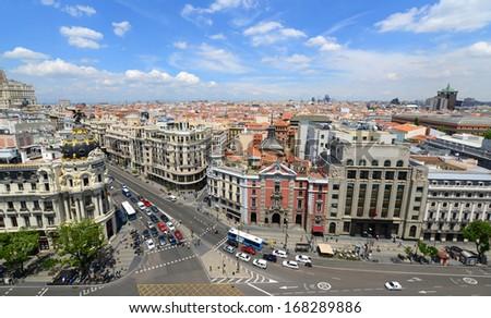 Madrid City Wide angle aerial view at the Calle de Alcala and Gran Via, Madrid, Spain. Metropolis Building (Edificio Metropolis) and San Jose church (Iglesia de San Jose) are at both sides of Gran Via - stock photo