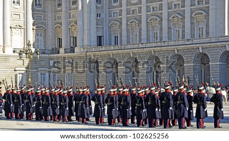 MADRID - DECEMBER 8: Military ceremony of changing of the guard at the Royal Palace on December 8, 2011 in Madrid, Spain