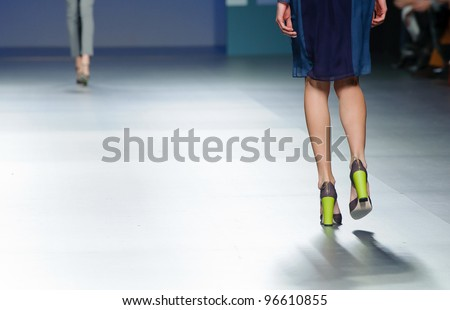 MADRID – FEBRUARY 04: Detail of shoes on the Sita Murt catwalk during the Mercedes-Benz Fashion Week Madrid runway on February 04, 2012 in Madrid, Spain. - stock photo