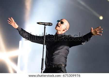 MADRID - JUN 22: Linkin Park (music band) perform in concert at Download (heavy metal music festival) on June 22, 2017 in Madrid, Spain.