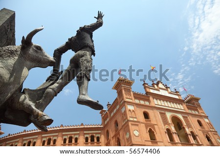 Madrid Landmark. Bullfighter sculpture in front of Bullfighting arena Plaza de Toros de Las Ventas in Madrid, a touristic sightseeing of Spain. - stock photo