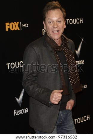 "MADRID - MARCH 10: Kiefer Sutherland attends the presentation of Fox new show ""Touch"" at the Capitol cinema on March 10, 2012 in Madrid."