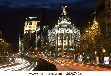 MADRID - MARCH 9:  Look from Plaza de Cibeles to Cale de Alcala street and Metropolis building  in dusk on March 9, 2013 in Madrid.