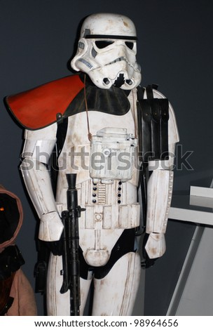 MADRID - MARCH 28: Storm Trooper. Star Wars exhibition during the presentation of the new Star Wars game for Kinect XBOX 360 at the Sports Palace on March 28, 2012 in Madrid - stock photo