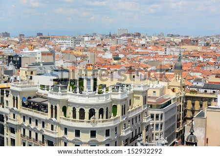 Madrid Modern City Skyline. Photo taken from top of Circulo de Bellas Artes, Madrid, Spain.