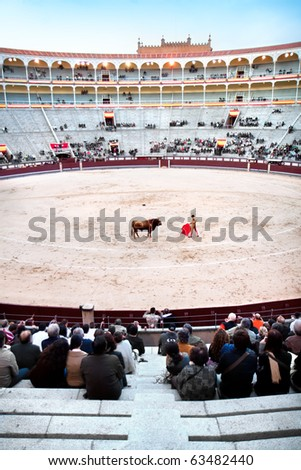MADRID - OCTOBER 17: A matador in full dress is main performer in bullfighting. He performs with and kills the bull at the Plaza del Toros de Las Ventas, october 17, 2010. in Madrid, Spain. - stock photo