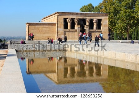 MADRID - OCTOBER 23: People visit Temple of Debod on October 23, 2012 in Madrid. Madrid is a popular tourism destinations with 3.9 million estimated annual visitors (official data).