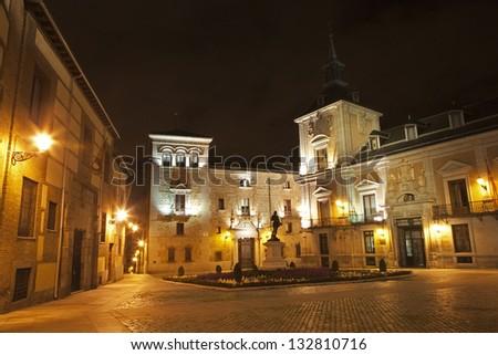 Madrid - Plaza de Villa at night - stock photo