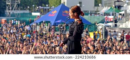 MADRID - SEP 13: Anna Calvi performance at Dcode Festival on September 13, 2014 in Madrid, Spain. - stock photo