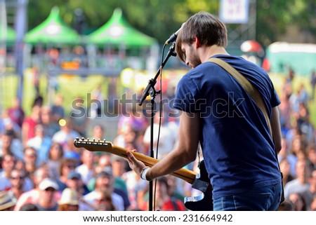 MADRID - SEP 13 Belako (Basque band) in concert at Dcode Festival on September 13, 2014 in Madrid, Spain. - stock photo