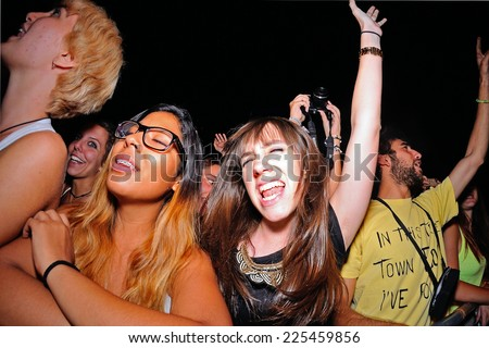 MADRID - SEP 13: Crowd in a concert at Dcode Festival on September 13, 2014 in Madrid, Spain. - stock photo