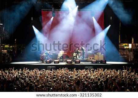 MADRID - SEP 12: The Vaccines (band) in concert at Dcode Festival on September 12, 2015 in Madrid, Spain. - stock photo