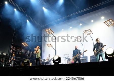 MADRID - SEP 13: Vetusta Morla (Spanish band) concert at Dcode Festival on September 13, 2014 in Madrid, Spain. - stock photo