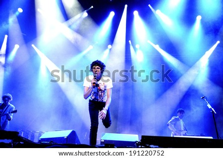 MADRID - SEPT 15: The Kooks,  British rock band formed in Brighton, concert at Complejo Deportivo Cantarranas on September 15, 2012 in Madrid. Dcode Festival. - stock photo