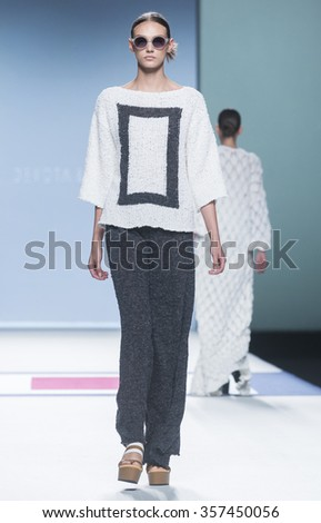 MADRID - SEPTEMBER 18: a model walks on the Devota & Lomba catwalk during the Mercedes-Benz Fashion Week Madrid Spring/Summer 2016 runway on September 18, 2015 in Madrid.
