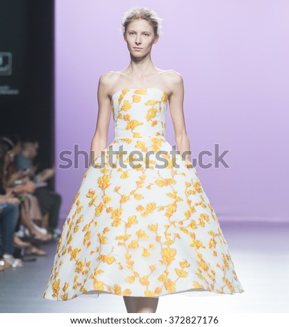MADRID - SEPTEMBER 21: a model walks on the 2nd Skin Co catwalk during the Mercedes-Benz Fashion Week Madrid Spring/Summer 2016 runway on September 21, 2015 in Madrid.  - stock photo