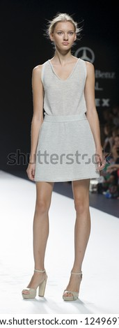 MADRID - SEPTEMBER 03: A model walks on the Sita Murt catwalk during the Cibeles Madrid Fashion Week runway on September 03, 2012 in Madrid.