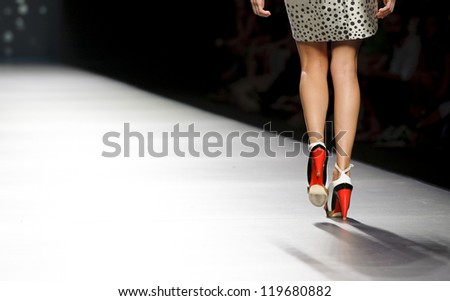MADRID - SEPTEMBER 01: Details of clothes on the Amaya Arzuaga catwalk during the Cibeles Madrid Fashion Week runway on September 01, 2012 in Madrid.