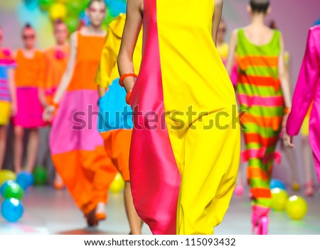 MADRID -Â?Â? SEPTEMBER 17: Details of clothing on the Agatha Ruiz de la Prada catwalk during the Cibeles Madrid Fashion Week runway on September 17, 2011 in Madrid, Spain. - stock photo