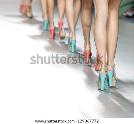 MADRID � SEPTEMBER 02: Details of models walking on the Kina Fernandez catwalk during the Cibeles Madrid Fashion Week runway on September 02, 2012 in Madrid. - stock photo