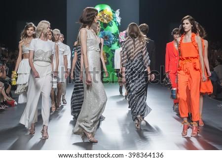 MADRID - SEPTEMBER 19: models walking on the Ana Locking catwalk during the Mercedes-Benz Fashion Week Madrid Spring/Summer 2016 runway on September 19, 2015 in Madrid.  - stock photo