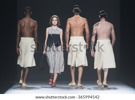MADRID - SEPTEMBER 20: models walking on the Etxebarria catwalk during the Mercedes-Benz Fashion Week Madrid Spring/Summer 2016 runway on September 20, 2015 in Madrid.  - stock photo