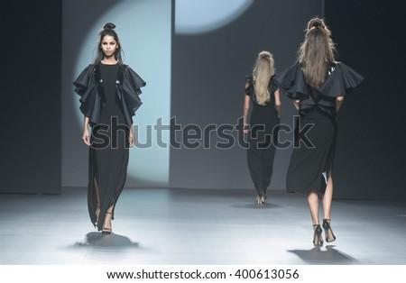 MADRID - SEPTEMBER 20: models walking on the Juana Martin catwalk during the Mercedes-Benz Fashion Week Madrid Spring/Summer 2016 runway on September 20, 2015 in Madrid.  - stock photo