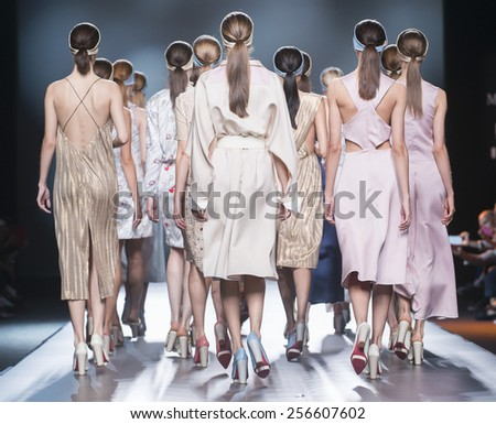 MADRID - SEPTEMBER 13: models walking on the Moises Nieto catwalk during the Mercedes-Benz Fashion Week Madrid Spring/Summer 2015 runway on September 13, 2014 in Madrid.  - stock photo
