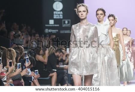MADRID - SEPTEMBER 21: models walking on the 2nd Skin Co catwalk during the Mercedes-Benz Fashion Week Madrid Spring/Summer 2016 runway on September 21, 2015 in Madrid.  - stock photo