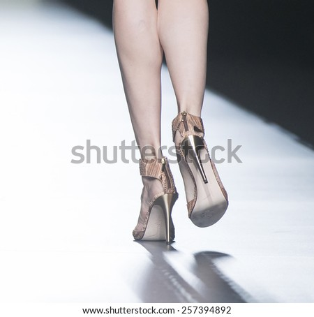 MADRID - SEPTEMBER 13: shoes details on the Roberto Torretta catwalk during the Mercedes-Benz Fashion Week Madrid Spring/Summer 2015 runway on September 13, 2014 in Madrid.  - stock photo