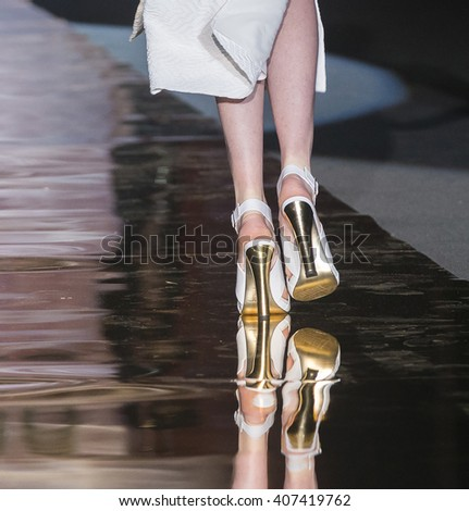 MADRID - SEPTEMBER 18: shoes details on the Roberto Verino catwalk during the Mercedes-Benz Fashion Week Madrid Spring/Summer 2016 runway on September 18, 2015 in Madrid.