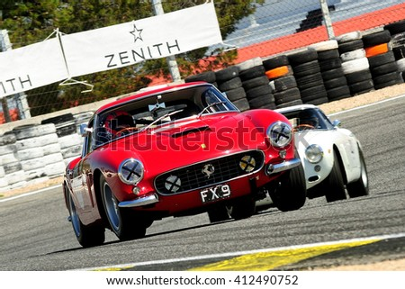 MADRID, SPAIN - APR 1 : British driver Ben Gill races in a Ferrari 250 GT Berlinetta during the Jarama Classic, on Apr 1, 2016 in Madrid, Spain.