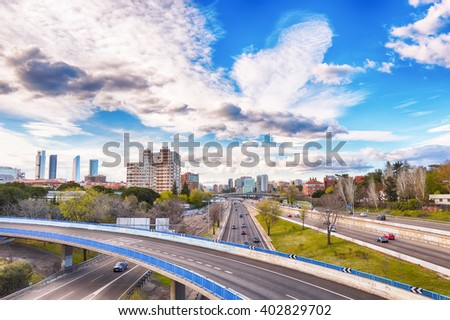MADRID, SPAIN - APRIL 8: Distant view of the Four Towers on April 8, 2016 in Madrid, Spain. - stock photo