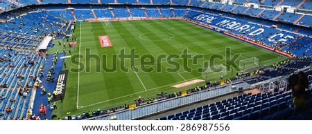 MADRID, SPAIN - APRIL 29: Santiago Bernabeu Stadium before the match on April 29, 2015 in Madrid, Spain. Real Madrid C.F. was born in the year 1902 and Santiago Bernabeu Stadium is its headquarters