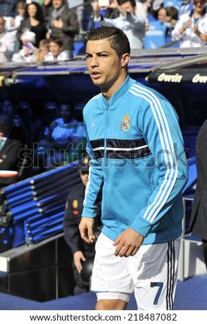MADRID, SPAIN - April 20th, 2013 : CRISTIANO RONALDO of Real Madrid enters the field during the La Liga match at Santiago Bernabeu Stadium.  - stock photo