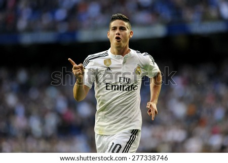 MADRID, SPAIN - April 29th, 2015 :  JAMES RODRIGUEZ of REAL MADRID scores and celebrates 1-0 against ALMERIA FC during the spanish La liga  at Santiago Bernabeu Stadium  - stock photo