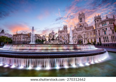 Madrid, Spain at Plaza de Cibeles. - stock photo