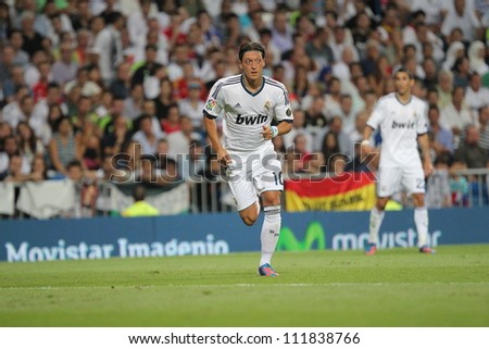 MADRID, SPAIN - AUGUST 29: Mezut Azil during the Supercopa, Real Madrid vs FC Barcelona, on August 29, 2012 at the Santiago Bernabeu Stadium. - stock photo