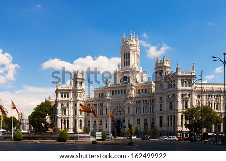 MADRID, SPAIN - AUGUST 29:  Palace of Communication in sunny day on August 29, 2013 in Madrid, Spain. Palace of Communication, since 2011 named Cibeles Palace (Palacio de Cibeles)