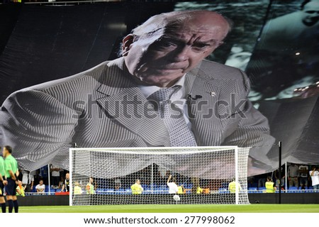 MADRID, SPAIN - August 19th, 2014 :  Huge tifo with portrait of recently deceased ALFREDO Di STEFANO former star of REAL MADRID  at the stands of Santiago Bernabeu stadium during the Spanish Supercup - stock photo