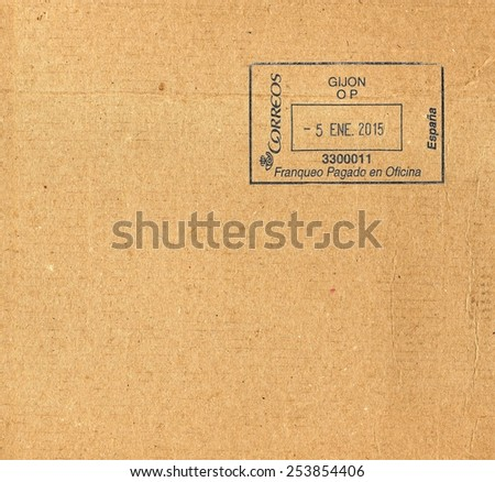MADRID, SPAIN - CIRCA JANUARY 2015: letter envelope with blue ink postage meter from Spain - stock photo