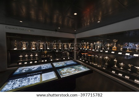 MADRID,SPAIN-CIRCA MARCH 2016: Visiting FC Real museum at Santiago Bernabeu stadium