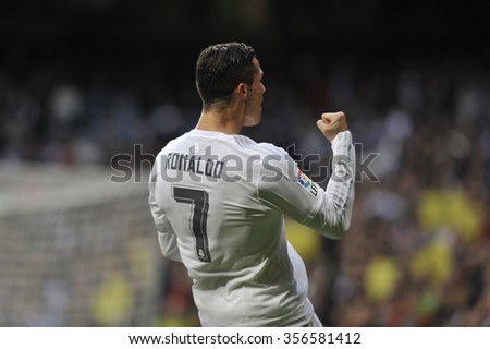 MADRID, SPAIN - December 30st, 2015 :  Portuguese CRISTIANO RONALDO of REAL MADRID celebrates scoring goal during Spain La Liga match vs Real Sociedad at Santiago Bernabeu Stadium  - stock photo