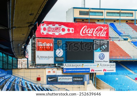MADRID, SPAIN - FEB 11, 2015: Vicente Calderon Football Stadium. It's the home stadium of La Liga football club Atletico Madrid