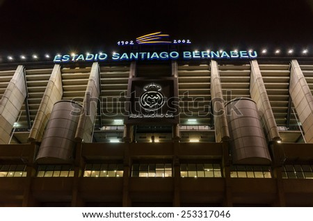 MADRID, SPAIN - FEBRUARY 4: Facade of the Santiago Bernabeu Stadium on February 4, 2015 in Madrid, Spain. Real Madrid C.F. was born in the year 1902 and Santiago Bernabeu Stadium is its headquarters - stock photo